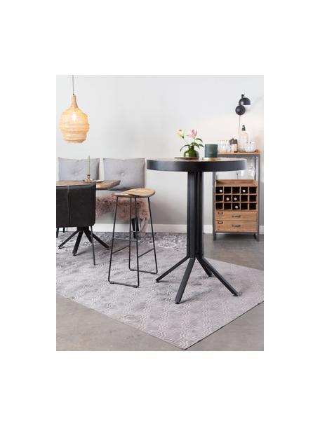 Barkruk Tangle van teakhout en metaal, Zitvlak: gerecycled teakhout, Poten: gepoedercoat metaal, Bruin, 40 x 65 cm