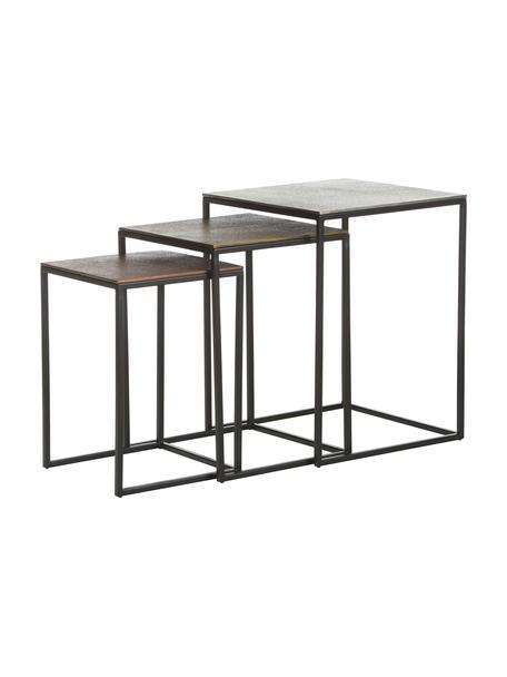 Komplet stolików pomocniczych Dwayne, 3 elem., Blat: aluminium powlekane, Stelaż: metal lakierowany, Aluminium, mosiądz, Komplet z różnymi rozmiarami