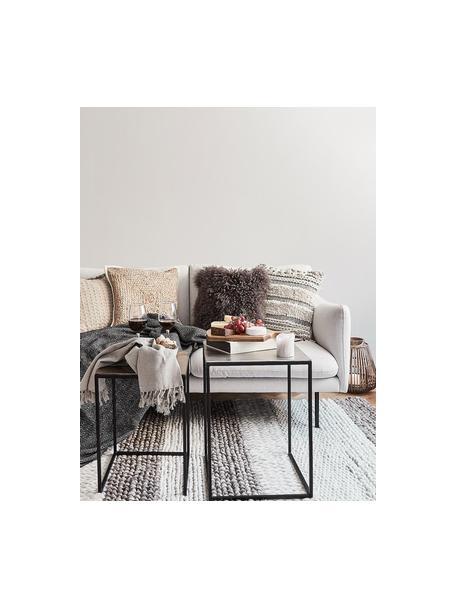 Set de mesas auxiliares Dwayne, 3uds., Tablero: aluminio, recubierto, Estructura: metal pintado, Aluminio, latón, Set de diferentes tamaños