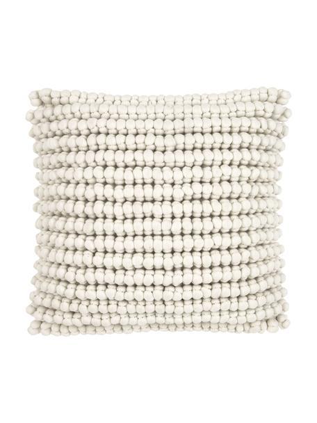 Federa arredo con palline di tessuto bianco crema Iona, Retro: 100% cotone, Bianco crema, Larg. 45 x Lung. 45 cm