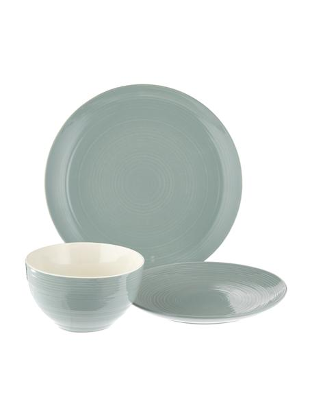 Set stoviglie con superficie strutturata Darby 12 pz, New bone china, Verde, bianco latteo, Set in varie misure