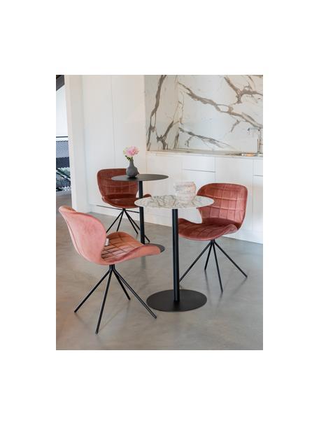 Tavolo da bistrot rotondo effetto marmo Snow, Struttura: metallo verniciato a polv, Bianco effetto marmo, Ø 57 x Alt. 75 cm