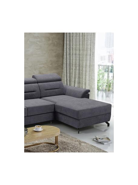 Sofa narożna z funkcją spania i miejscem do przechowywani Missouri (4-osobowa), Tapicerka: 100% poliester, Ciemnyszary, S 259 x G 164 cm