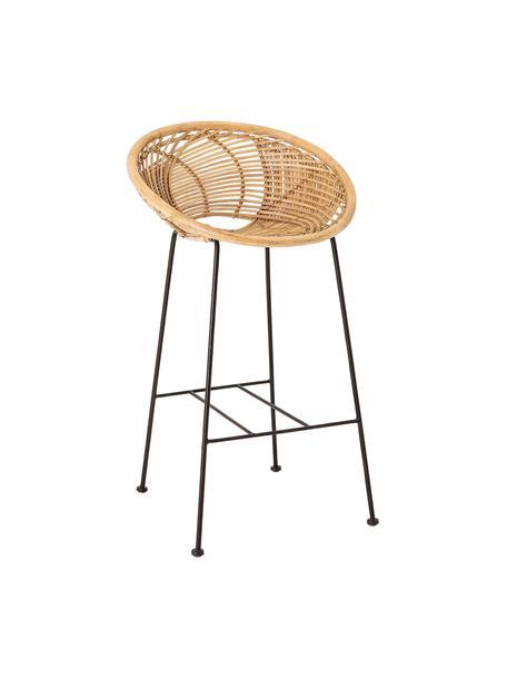 Krzesło barowe z rattanu z metalowymi nogami Yonne, Stelaż: metal powlekany, Rattan, czarny, S 52 x W 94 cm