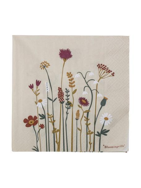 Papier-Servietten Paige mit Blumenmuster, 20 Stück, Papier, Beige, 33 x 33 cm