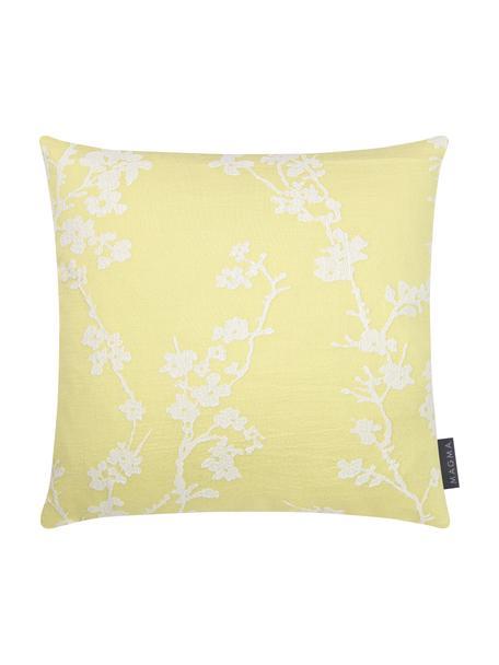 Kussenhoes Jasmin met bloemenmotief, Weeftechniek: jacquard, Geel, wit, 40 x 40 cm