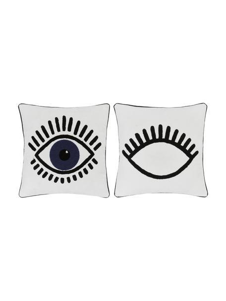 Kussenhoes Charms met oogmotief, 2 stuks, 100% katoen, Wit, zwart, blauw, 45 x 45 cm