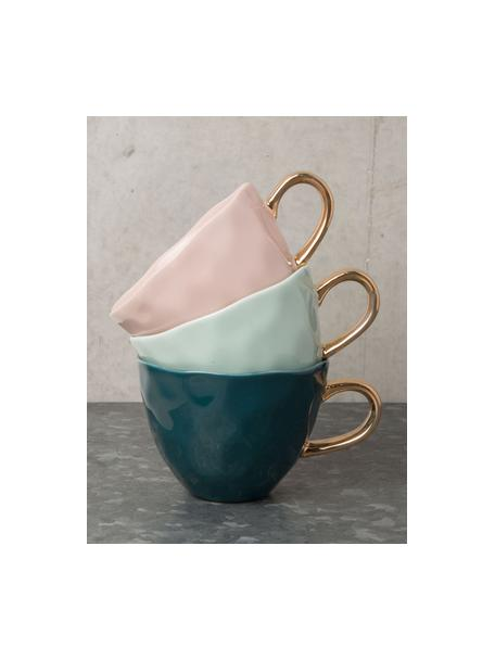 Mok Good Morning in roze met goudkleurig handvat, Keramiek, Roze, goudkleurig, Ø 11 x H 8 cm