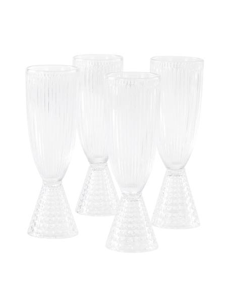 Champagneglazen Ace met reliëfpatroon, 4 stuks, Glas, Transparant, Ø 6 x H 19 cm