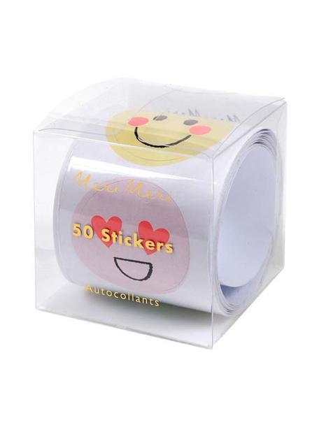 Komplet naklejek Emoji, Papier, Wielobarwny, S 7 x W 7 cm