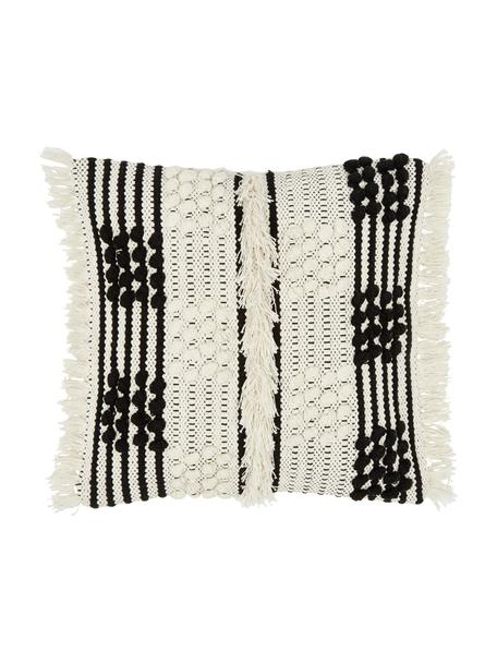 Federa arredo color bianco crema Karen, 100% cotone, Beige, bianco, Larg. 45 x Lung. 45 cm