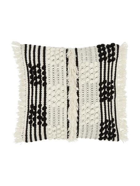 Kissenhülle Karen in Cremeweiß mit dekorativer Verzierung, 100% Baumwolle, Beige,Weiß, 45 x 45 cm