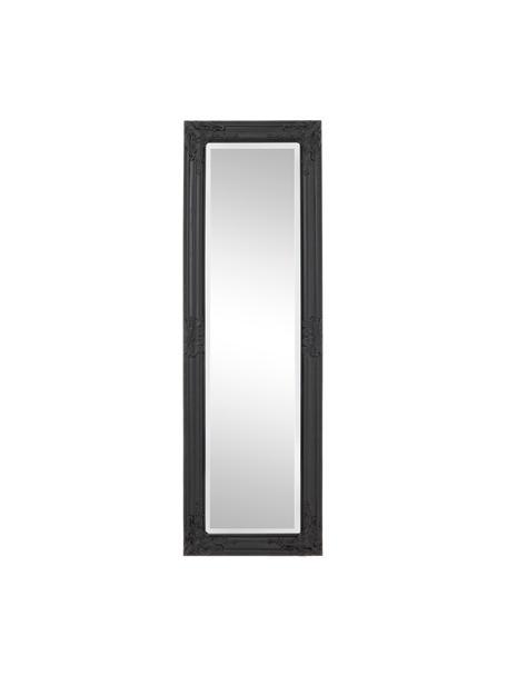 Eckiger Wandspiegel Miro mit schwarzem Paulowniaholzrahmen, Rahmen: Paulowniaholz, beschichte, Spiegelfläche: Spiegelglas, Schwarz, 42 x 132 cm