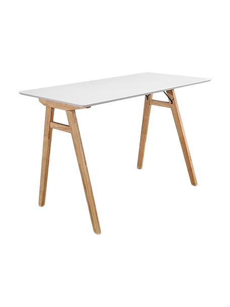 Escritorio Vojens, Tablero: tablero de fibras de dens, Patas: madera de caucho, Blanco, fresno, An 120 x F 60 cm