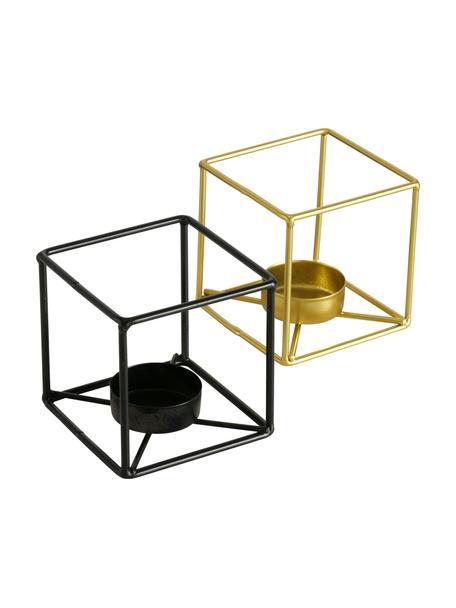 Set de portavelas Bux, 2uds., Aluminio, Estructura: madera de roble, negro pintado Patas: dorado brillante cepillado, An 8 x Al 8 cm