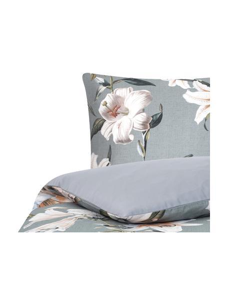 Pościel z satyny bawełnianej Flori, Przód: niebieski, kremowobiały Tył: niebieski, 135 x 200 cm + 1 poduszka 80 x 80 cm