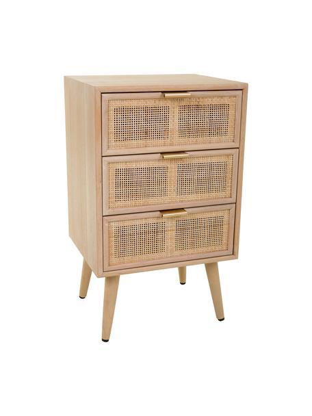 Comodino in legno con cassetti Cayetana Shelfy, Maniglie: metallo, Piedini: legno di bambù verniciato, Marrone, Larg. 42 x Alt. 71 cm