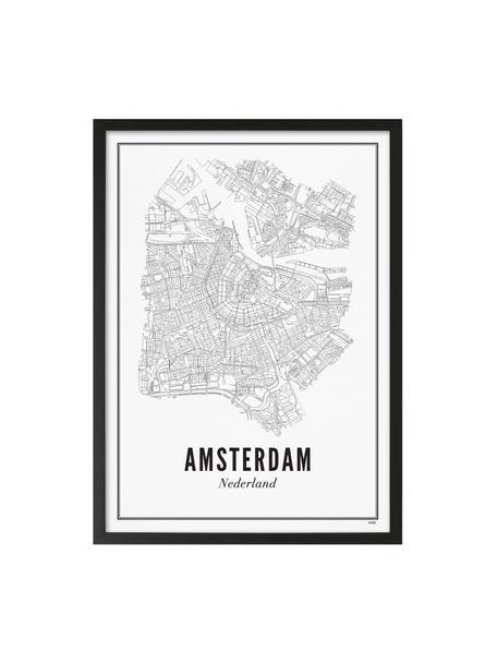 Lámina decorativa Amsterdam, Ilustración: negro, blanco Marco: negro, mate, An 40 x Al 50 cm