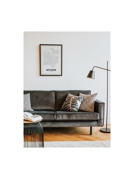Impresión digital enmarcada Amsterdam, Ilustración: negro, blanco Marco: negro, mate, An 40 x Al 50 cm