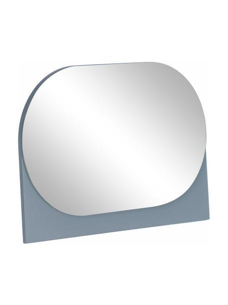 Ovale make-up spiegel Mica met grijze houten frame, Frame: gecoat MDF, Grijs, 23 x 16 cm