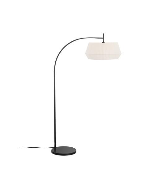 Grote booglamp Dicte van geplooide stof, Lampenkap: stof, Lampvoet: gecoat metaal, Wit, zwart, 104 x 180 cm