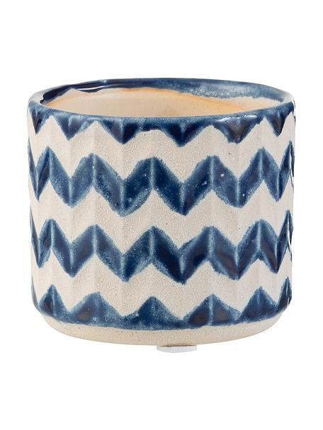 Kleiner Pflanztopf Zigzag, Keramik, Blau, Hellbeige, Ø 8 x H 7 cm