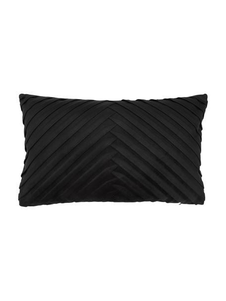 Fluwelen kussenhoes Lucie in zwart met structuur-oppervlak, 100% fluweel (polyester), Zwart, 30 x 50 cm