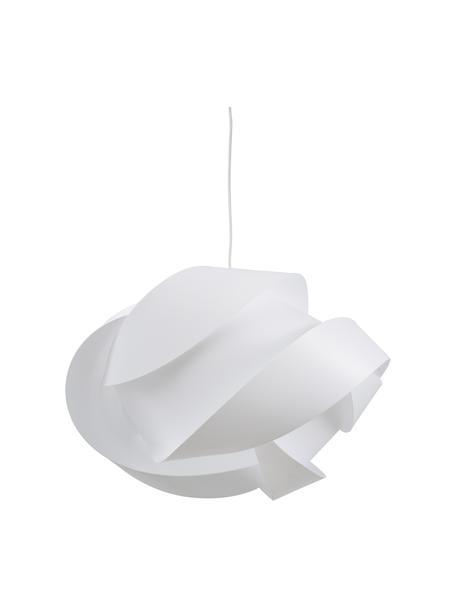 Lámpara de techo grande Ribbon, Pantalla: polipropileno, policarbon, Anclaje: plástico, Cable: cubierto en tela, Blanco, Ø 60 x Al 28 cm