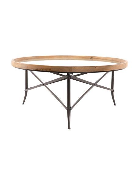 Mesa de centro Lotte, Tablero: Madera de abeto, Cristal , Patas: Hierro, Natural, negro, Ø 100 x Al 46 cm
