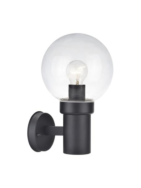 Outdoor wandlamp Caris met glazen lampenkap, Lampenkap: glas, Transparant, zwart, 20 x 33 cm