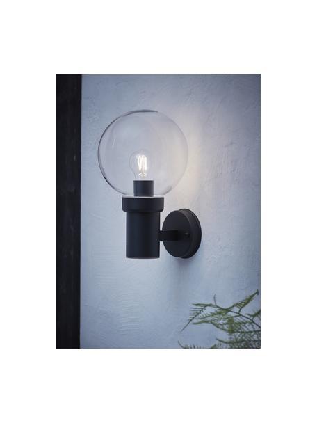 Außenwandleuchte Caris mit Glasschirm, Lampenschirm: Glas, Transparent, Schwarz, 20 x 33 cm