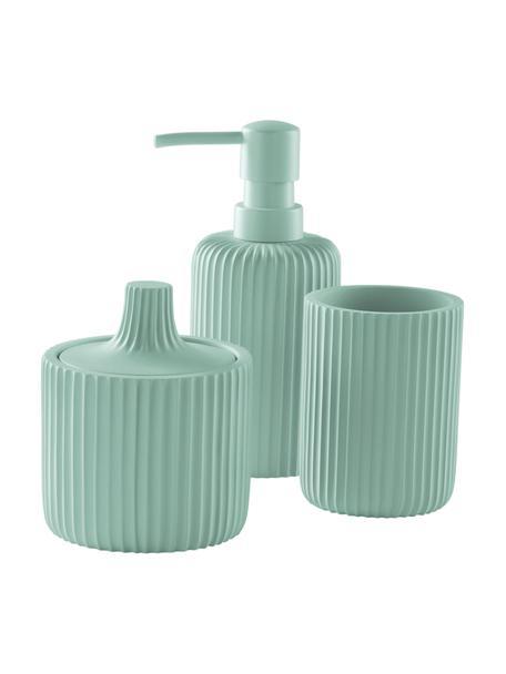 Set de baño Valerie, 3 pzas., Plástico, Turquesa, Set de diferentes tamaños