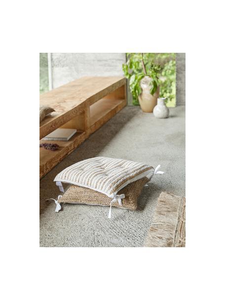 Cojín de asiento de yute Faeka, Parte superior: yute, algodón, Parte trasera: 100%algodón, Beige, blanco, An 40 x L 40 cm