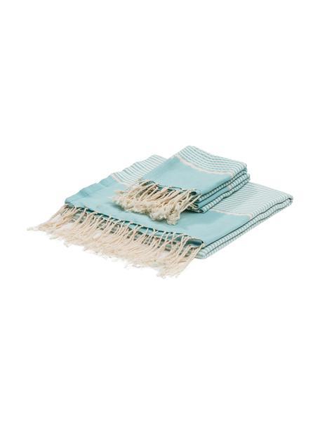 Komplet ręczników z wykończeniem z lurexu  Copenhague, 3 elem., Jasny niebieski, odcienie srebrnego, biały, Komplet z różnymi rozmiarami