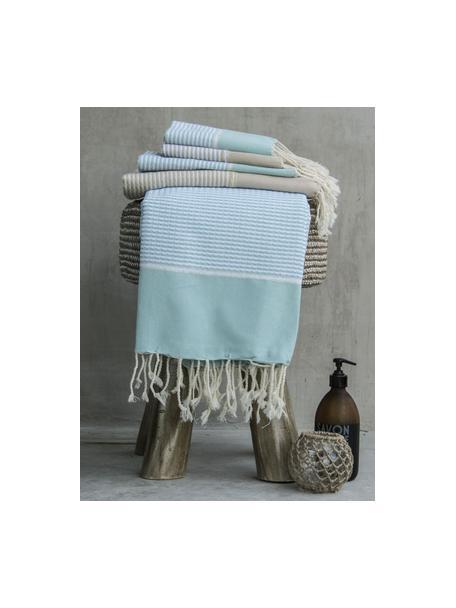 Set 3 asciugamani con bordo in lurex Copenhague, 100% cotone con fili di lurex Qualità molto leggera, 200 g/m², Azzurro, argento, bianco, Set in varie misure