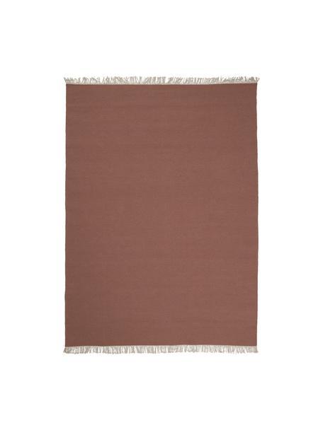 Handgeweven wollen vloerkleed Rainbow in kastanjebruin met franjes, Franjes: 100% katoen, Bruinrood, B 140 x L 200 cm (maat S)