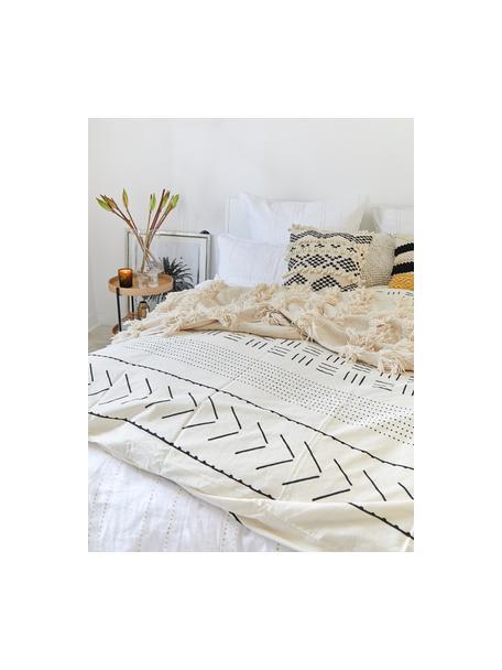 Poszewka na poduszkę z bawełny z efektem sprania w stylu boho Kohana, 2 szt., Ecru, czarny, S 40 x D 80 cm
