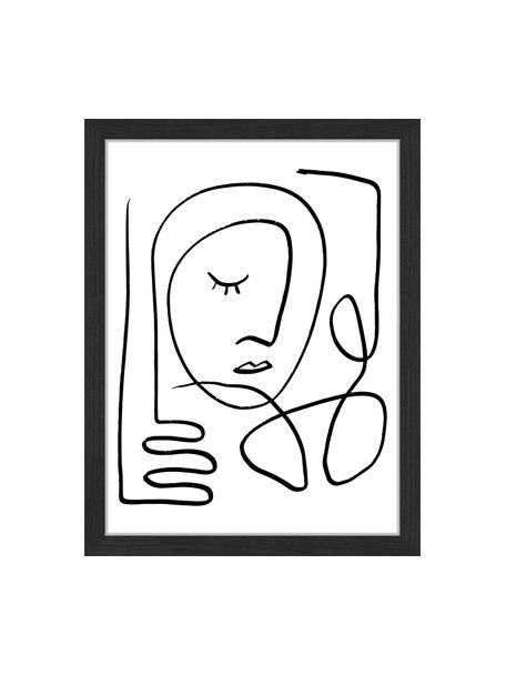 Oprawiony druk cyfrowy Trendy Line, Czarny, biały, S 33 x W 43 cm