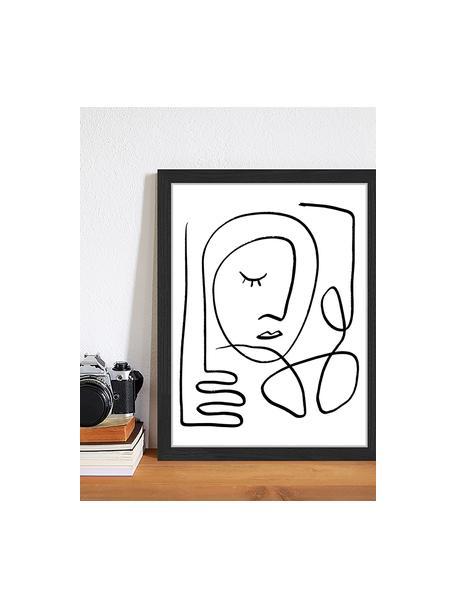 Stampa digitale incorniciata Trendy Line, Immagine: stampa digitale su carta,, Cornice: legno verniciato, Nero, bianco, Larg. 33 x Alt. 43 cm