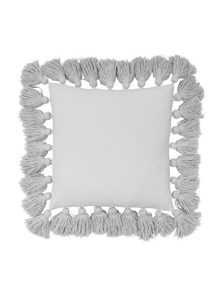 Funda de cojín con borlas Shylo, 100%algodón, Gris claro, An 40 x L 40 cm
