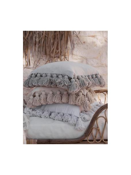 Federa arredo con nappe Shylo, 100% cotone, Grigio chiaro, Larg. 40 x Lung. 40 cm