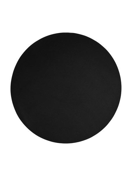 Ronde placemats Asia, 2 stuks, Kunstleer (PVC), Zwart, Ø 38 cm