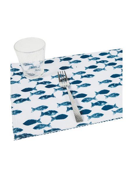 Tovaglietta americana Fishbone 2 pz, Poliestere, Bianco, blu, Larg. 33 x Lung. 48 cm