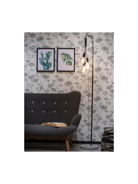 Grote industriële vloerlamp Oslo betonnen voet, Lamp: gecoat metaal, Lampvoet: beton, Zwart, 48 x 190 cm