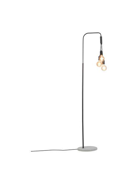 Lámpara de pie grande Oslo, estilo industrial, Lámpara: metal recubierto, Cable: cubierto en tela, Negro, An 48 x Al 190 cm