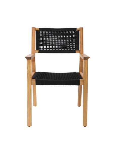 Sedia da giardino in legno Little John, Struttura: legno di acacia, Nero, beige, Larg. 58 x Prof. 64 cm