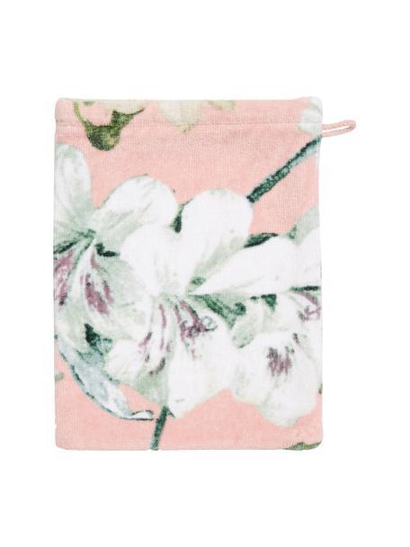 Washandje Rosalee met bloemenpatroon, Katoen, Roze, wit, groen, 16 x 22 cm