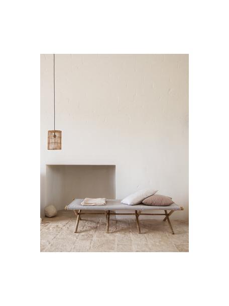 Leżak ogrodowy z drewna bambusowego Bambed, Stelaż: drewno bambusowe, Tapicerka: 100% bawełna, Szary, brązowy, S 180 x G 80 cm