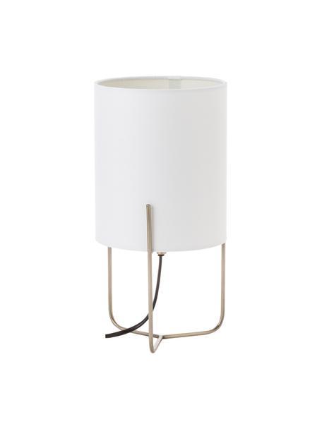 Kleine Nachttischlampe Odin, Lampenfuß: Messing, Lampenschirm: Polyester, Weiß, Goldfarben, Ø 15 x H 30 cm