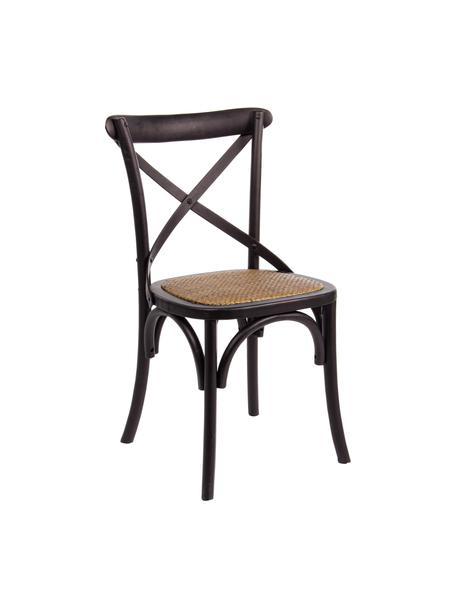 Houten stoel Cross in landelijke stijl, Frame: gelakt olmenhout, Zitvlak: rotan, Zwart, B 42 x D 46 cm